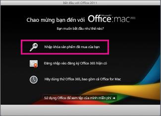 Màn hình kích hoạt trong office cho mac