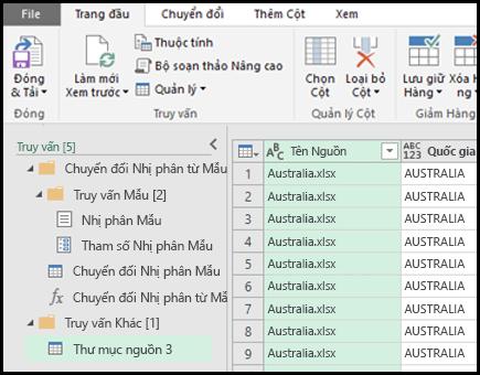 Kết hợp bản xem trước nhị phân thoại. Bấm đóng & tải để chấp nhận các kết quả và nhập chúng vào Excel.