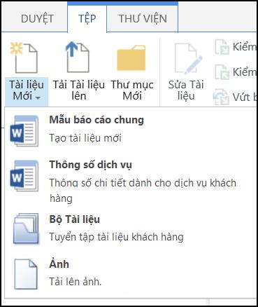 Menu Tài liệu Mới với kiểu nội dung tùy chỉnh trong SharePoint