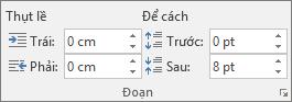 Trong Word, trên tab bố trí, trong nhóm đoạn văn, đặt dãn cách.