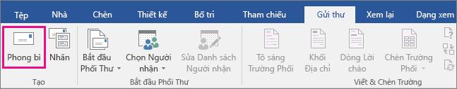 Biểu tượng Phong bì được tô sáng trên tab Gửi thư.
