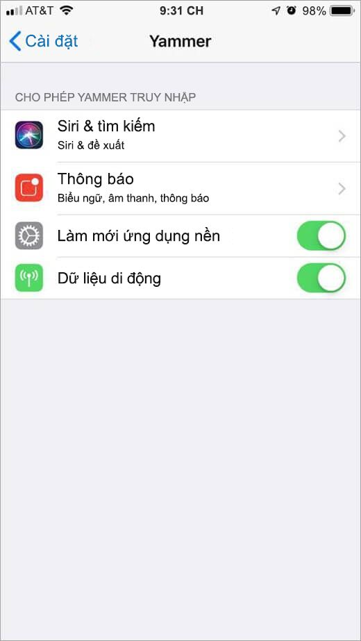 menu Yammer thiết đặt iOS