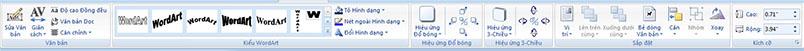 Tab công cụ WordArt trong Publisher 2010
