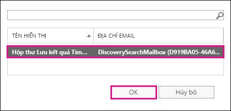 Sao chép kết quả tìm kiếm vào Hộp thư Tìm kiếm Khám phá mặc định