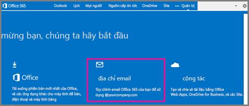 Trang chào mừng, hiện lát xếp địa chỉ email