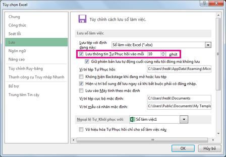 Tùy chọn Tự Phục hồi trên tab Lưu trong hộp thoại Tùy chọn Excel