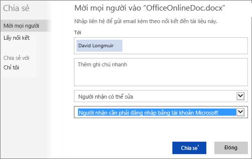 """Ảnh chụp màn hình của hộp thoại Chia sẻ, hiển thị tùy chọn """"Người nhận cần đăng nhập bằng tài khoản Microsoft"""""""
