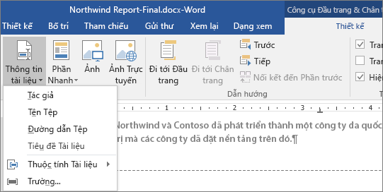 Tùy chọn Thông tin Tài liệu hiển thị trên tab Công cụ Đầu trang và Chân trang.