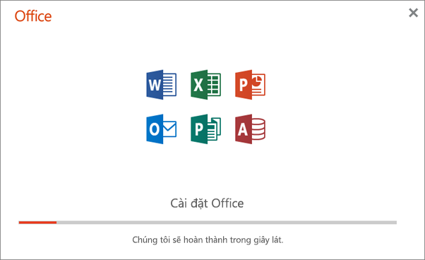 Hiển thị hộp thoại tiến độ xuất hiện khi cài đặt Office