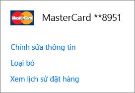 Trang Tùy chọn thanh toán, hiển thị các liên kết Chỉnh sửa thông tin, Loại bỏ và Xem lịch sử đơn hàng cho thẻ tín dụng.