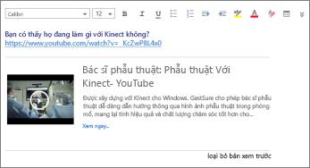 Ảnh chụp màn hình hiển thị bản xem trước của trang web trong Outlook Web App