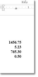 Số được dóng thẳng dưới tab thập phân