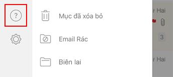 Hình ảnh ngăn dẫn hướng bên trái trong Outlook for iOS.