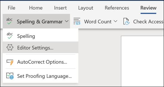 Ảnh chụp màn hình tùy chọn thiết đặt trình soạn thảo trong Word Online