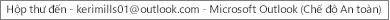 Nhãn ở đầu cửa sổ sẽ cho bạn biết tên của người sở hữu Hộp thư đến và xác định Outlook đang hoạt động ở chế độ an toàn
