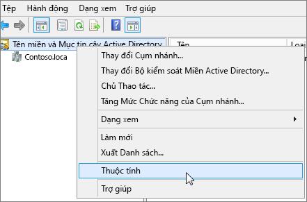 Bấm chuột phải vào Tên miền và Mục tin cậy ActiveDirectory và chọn Thuộc tính
