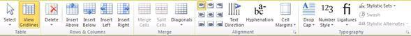Các công cụ bố trí bảng cho Publisher 2010