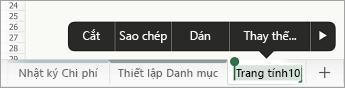 Tab trang tính đã chọn, hiển thị tùy chọn đổi tên