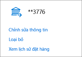 Trang Tùy chọn thanh toán, hiển thị các liên kết Chỉnh sửa thông tin, Loại bỏ và Xem lịch sử đơn hàng cho tài khoản ngân hàng.
