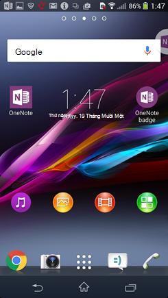 Ảnh chụp màn hình cho màn hình chính Android với huy hiệu OneNote.