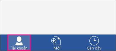 Hiển thị nút tài khoản trong Word cho iPhone