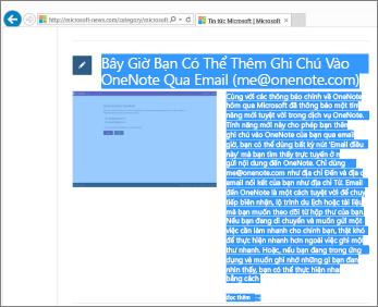 Ảnh chụp màn hình hiển thị một phần của trang web được chọn để sao chép.
