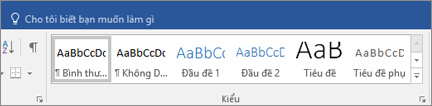 Kiểu Word của Office 365 trên tab Trang đầu