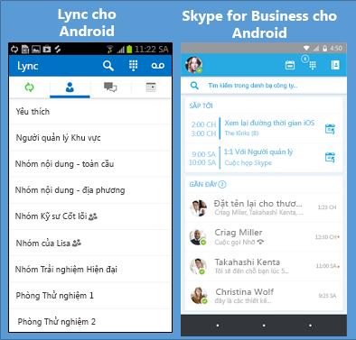 Các ảnh chụp màn hình song song của Lync và Skype for Business