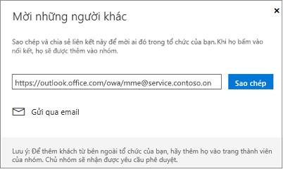 Bấm sao chép hoặc Email để nhúng nối kết trong email