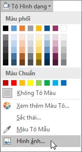 Ảnh chụp màn hình tùy chọn Tô Ảnh trong mục Tô Hình trên tab Định dạng của Publisher.