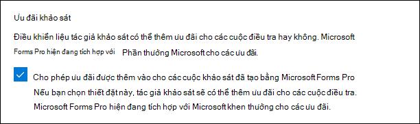 Thiết đặt quản trị Microsoft Forms cho các ưu đãi khảo sát