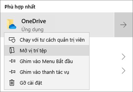 Ảnh chụp màn hình hiển thị menu bấm chuột phải trong Menu Bắt đầu, với tùy chọn Mở Vị trí Tệp được chọn.
