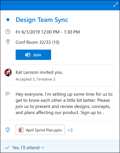 Peek lịch cho Outlook cho web.