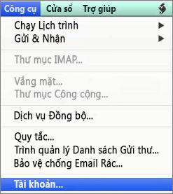 Công cụ Outlook for Mac > Tài khoản