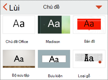 Menu chủ đề trong PowerPoint for iOS.