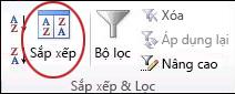 Lệnh Sắp xếp trong nhóm Sắp xếp & Lọc trên tab Dữ liệu trong Excel