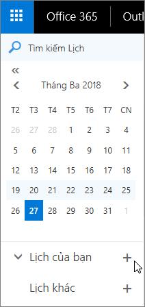 Một ảnh chụp màn hình hiển thị các khu vực của bạn, lịch và lịch khác của ngăn dẫn hướng của lịch.