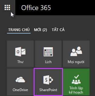 Ảnh chụp màn hình của công cụ khởi động ứng dụng trong SharePoint Server 2016