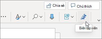 Trên tab trang đầu, chọn trình soạn thảo