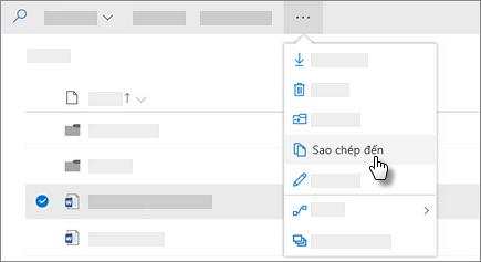 Ảnh chụp màn hình của lệnh sao chép vào trong OneDrive for Business