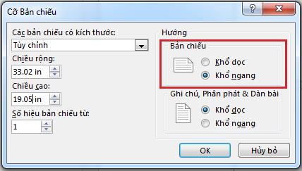 Trong hộp thoại Kích cỡ Trang chiếu, bạn có thể thay đổi hướng trang chiếu thành Dọc hoặc Ngang.