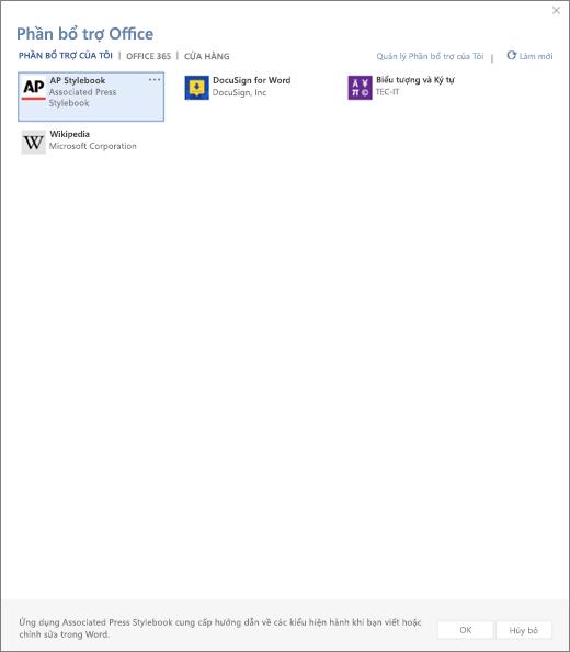 Ảnh chụp màn hình hiển thị các tab bổ trợ của tôi của trang Office bổ trợ mà người dùng bổ trợ được hiển thị. Chọn bổ trợ để bắt đầu nó. Cũng sẵn dùng được các tùy chọn để quản lý bổ trợ hoặc làm mới của tôi.