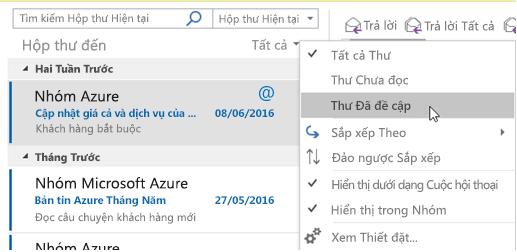 Hiển thị menu thư đã nhắc đến tùy chọn