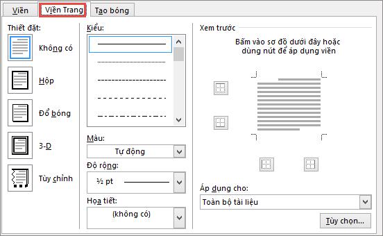 Tab Viền Trang của hộp thoại Viền và Màu nền trong Word 2010