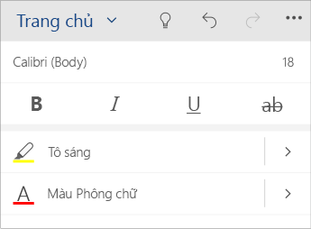 Ảnh chụp màn hình menu định dạng văn bản trong Word Mobile.