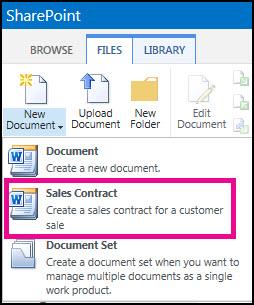 Phần thả xuống từ menu Tài liệu Mới hiển thị kiểu nội dung Hợp đồng Kinh doanh.