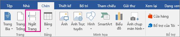 Tùy chọn Ngắt Trang được tô sáng trên tab Chèn.