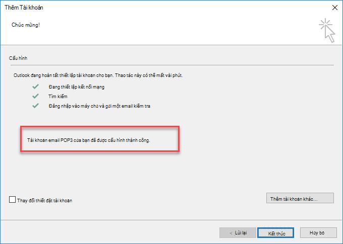 Outlook thêm tài khoản dưới dạng POP