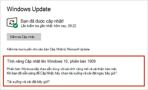 Windows Bản cập nhật hiển thị vị trí cập nhật tính năng