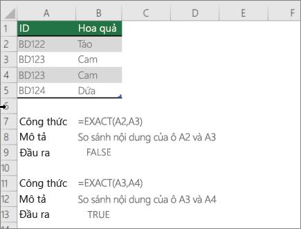Ví dụ về việc sử dụng hàm chính xác để so sánh một ô khác
